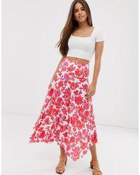 ASOS Camicia lunga a pieghe con stampa rosa a fiori