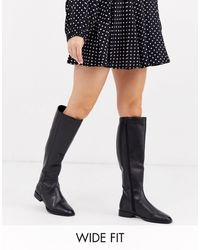 ASOS Wide Fit Charisma Leather Smart Riding Boot - Black