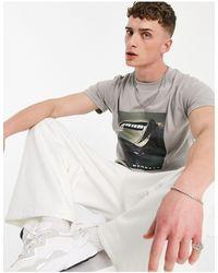 Mennace T-shirt oversize avec imprimé photo - foncé - Gris