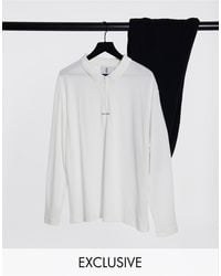 Collusion Oversized Long Sleeve Polo With Half Zip - White