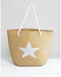 South Beach Natural Straw Beach Bag With Silver Star - Multicolor