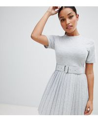 c16480eddff0 ASOS - Asos Design Petite Mini Dress With Pleated Skirt And Belt - Lyst