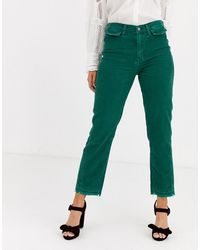 Free People Aces High Waisted Straight Leg Pant - Green