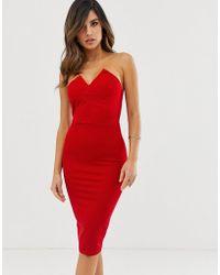 AX Paris Strapless Bodycon Dress - Red