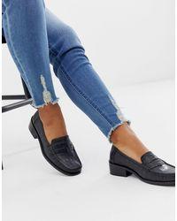 ASOS Marley 90's Leather Loafer Flat Shoes - Black