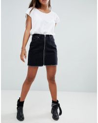 Abercrombie & Fitch - Zip Thru Denim Mini Skirt - Lyst