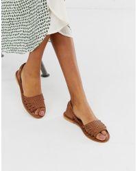 Warehouse - Plaited Huarache Sandals In Tan - Lyst