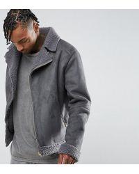 The New County Oversized Faux Shearling Biker Jacket - Grey