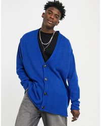 ASOS Knitted Oversized Textured Button Cardigan - Blue