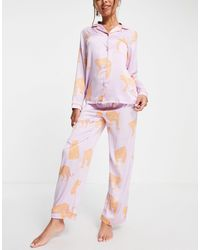 Chelsea Peers Pijama premium largo lila con cuello - Morado