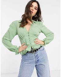 ASOS Long Sleeve V Neck Tea Blouse With Button Detail-no Colour - Green