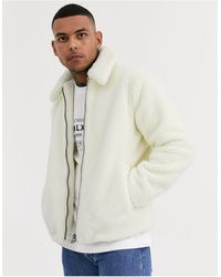 TOPMAN Светло-бежевая Флисовая Куртка -белый