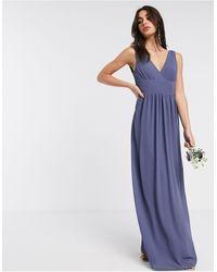 TFNC London Bridesmaid Top Wrap Chiffon Dress - Blue