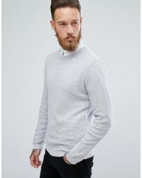 ASOS - Muscle Fit Lightweight Textured Sweater In Pale Gray - Lyst