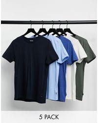 Burton – 5er-Pack T-Shirts mit Rundhalsausschnitt - Blau