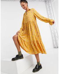 Monki - Желтое Свободное Платье Миди Из Переработанных Материалов Parly-желтый - Lyst