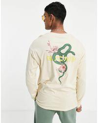 Jack & Jones Бежевый Oversized-лонгслив С Рисунком Змеи И Надписью На Японском На Спинке Originals-светло-бежевый Цвет - Многоцветный