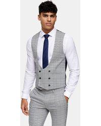 TOPMAN Skinny Suit Waistcoat - Grey