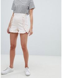 ASOS - Tailored Frill Detail Short In Grid Check - Lyst
