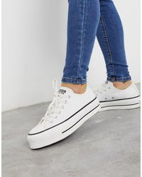 Converse Chuck taylor lift platform ox broderie embroidered-Blanco