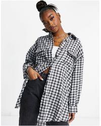 Missguided - Oversized-рубашка В Мелкую Черную Клетку -черный Цвет - Lyst