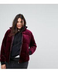 Simply Be Padded Velvet Jacket - Purple