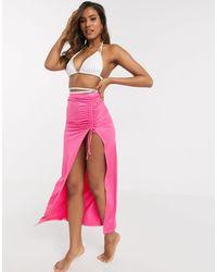 ASOS – Seitlich geraffter, figurbetonter Maxi-Sarong aus Jersey - Pink