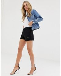 Lipsy - Ripped Shorts In Black - Lyst
