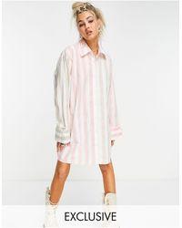 Collusion Oversized Mini Shirt Dress - Pink