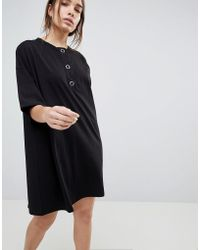 ASOS - Asos Super Oversized T-shirt Dress With Popper Placket - Lyst