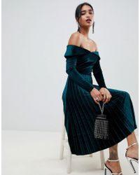 ASOS - Pleated Velvet Bardot Midi Dress - Lyst