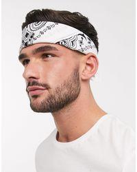 ASOS Bandana en coton biologique à motif cachemire - Blanc