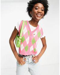 Daisy Street – Pullunderjacke mit coolem Rautenmuster, Kombiteil - Pink