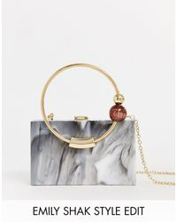 ASOS Marble Box Bag With Bead Ring Handle - White