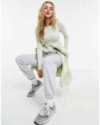 Monki Шалфейно-зеленый Лонгслив Из Смесового Органического Хлопка Barb-зеленый Цвет