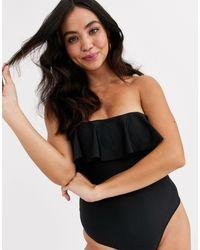 Brave Soul Hilda Bardot Swimsuit With Frill Hem - Black