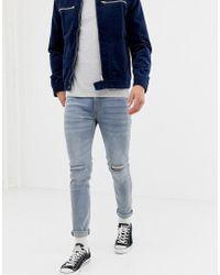 D-Struct - Skinny Fit Ripped Knee Denim Jeans In Light Blue - Lyst