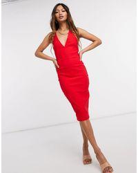 Vesper Bodycon Midi Dress - Red