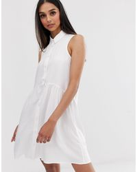 Stradivarius Vestido camisero blanco sin mangas