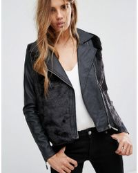 Urban Bliss - Faux Fur Biker Jacket - Lyst