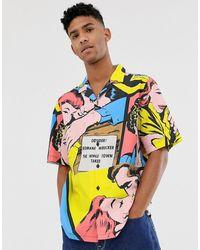ASOS Regular-fit Overhemd Met Pop Art-print - Blauw