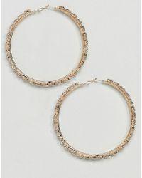 True Decadence - Gold Embellished Hoop Earrings () - Lyst