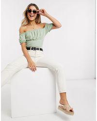 New Look - Top côtelé style milkmaid - clair - Lyst