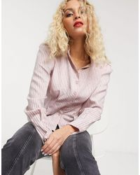 & Other Stories Stripe Puff Sleeve Blouse - Pink