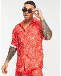 Mennace - Красная Рубашка С Принтом В Стиле Банданы И Отложным Воротником -красный - Lyst