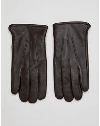 ASOS Leather Touchscreen Gloves - Brown