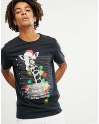 c9f2af95a3de98 Jack   Jones - Originals Holidays T-shirt With Giraffe Graphic - Lyst