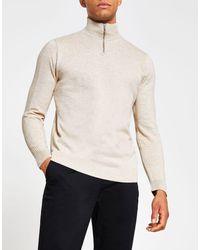 River Island Half-zip Slim Fit Sweater - Natural
