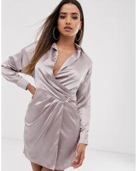 Missguided - Satijnen Mini-jurk Met Overslag - Lyst