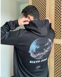 Sixth June Earth Back Print Hoodie - Black
